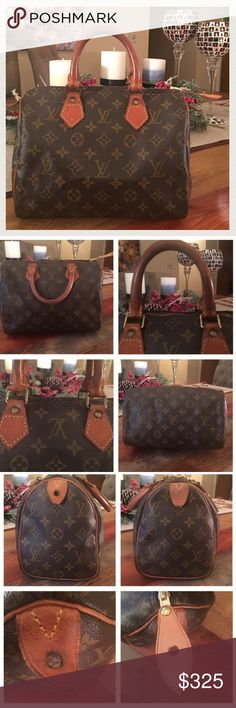 """AUTHENTIC LOUIS VUITTON SPEEDY 25 100% Authentic Louis Vuitton Speedy 25. This is a vintage bag with signs of use but tons of life left ! Monogram Canvas is in good condition no holes or cracks. Picture 4 shows the corners, minor wear and no exposed piping 👍🏻 Handles have turned into a deep dark patina and have scratches but no cracks. Zipper works properly. New  LV zipper pull tag Inside and pocket is clean. Made in France in 1999. W9.84""""x H7.48"""" xD5.90"""". No trades. Louis Vuitton Bags…"""