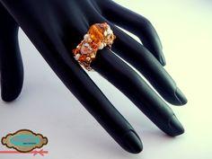 Código: anillo-0003 Anillo de base tejida con cristales checos color miel. #rings
