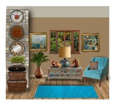 """""""Rusty Turquoise Room"""" by penelopepoppins ❤ liked on Polyvore featuring interior, interiors, interior design, home, home decor, interior decorating, Simple by Design, Horace, HomePop and NOVICA"""