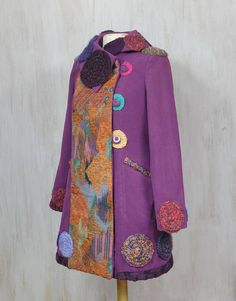 Reworked Coat Boho Overcoat Ornamented Gypsy Overcoat