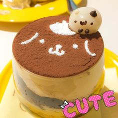 We visited the Pompompurin Café over the weekend Here's our tiramisu Japanese Snacks, Japanese Dishes, Japanese Sweets, Cute Food, I Love Food, Honey Toast, Kawaii Dessert, Bento Recipes, Cute Desserts