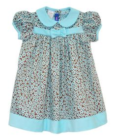 Another great find on #zulily! Brown & Blue Floral Puff-Sleeve Dress - Infant & Toddler #zulilyfinds