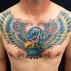 Eagle chest piece by Sierra Colt- Bearcat Tattoo Gallery- Little Italy- San Diego, CA