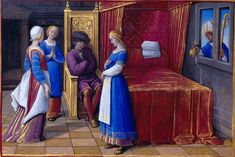 1500 - Book of Hours by Jean Poyer, known as The Hours of Henry VIII - St. Nicholas: NIcholas Giving Gold to the Three Maidens check out the cap