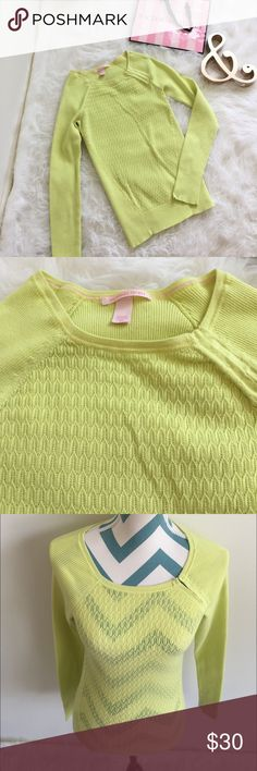 VS Sweater NWOT neon yellow eyelet sweater. Super soft and light weight material. Also has great stretch. Pretty clasp detail on one side. Just so pretty! Perfect for spring. Victoria's Secret Sweaters