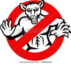 Illustration showing a muscular white rat enclosed in a busted, stop or no entry traffic sign on isolated white background done in retro style.  - stock vector #rat #retro #illustration