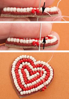 Bead Embroidery Heart Ornament Tutorial: Stitch the Second Bead in the Edging