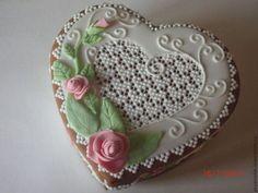 """Кулинарные сувениры ручной работы. Ярмарка Мастеров - ручная работа. Купить Пряничная шкатулка """" Розы"""". Handmade. Розовый, сердце"""