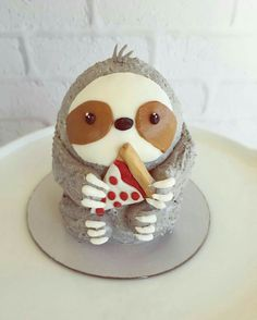 Sloth Cake with Pizza Slice by _leslie_vigil_ - Cake Decorating Simple Ideen Pretty Cakes, Cute Cakes, Fondant Cakes, Cupcake Cakes, Sloth Cakes, Dog Cakes, Funny Cake, Gateaux Cake, Crazy Cakes