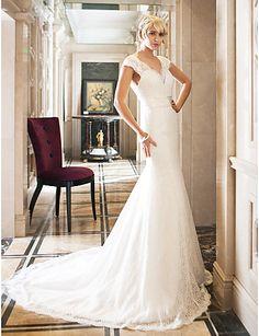 Vestido de Noiva Sereia Rainha Anne Cauda Corte (Renda/Cetim Elástico) – BRL R$ 683,97