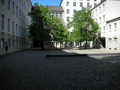 The courtyard of the Memorial to German Resistance, Stauffenbergstrasse, Berlin. It was here that the conspirators who tried to assassinate Hilter at the Wolf's Lair were put to death. Memorial plaque on the wall to the left.
