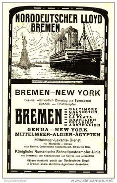 Original-Werbung/Inserat/ Anzeige 1908 - BREMEN-NEW YORK / NORDDEUTSCHER LLOYD BREMEN -  ca.180 x 120 mm