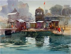Watercolor Water, Watercolor Landscape Paintings, Watercolor Artists, Water Element, Indian Artist, Cityscapes, Watercolours, Health Remedies, Painting & Drawing