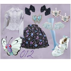 012 Butterfree Lolita by meiki on Polyvore featuring FOSSIL, butterfree, lolita fashion, pokemon and lolita