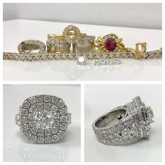 "Ok! Do you REMEMBER this before post? I said stay tuned for the after.... All she said was ""I want a HUGE F*#^}* RING! I think she got it. There is not one millimetre of white gold without a diamond set in it. 13.96 carats of diamonds reset! She was over the moon."