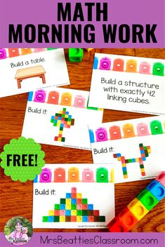 Make classroom entry less hectic with these FREE Math Morning Work activities. These are the perfect morning work activity for elementary students! They are hands-on, paperless, engaging, and so easy to set up. Put these cards into tubs with your math manipulatives and watch your students explore! #math #classroom #teaching