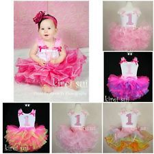 Baby Girls FULL Pettiskirt Tutu Bling Pink 1st Tank Top Birthday Party Dress 2pc