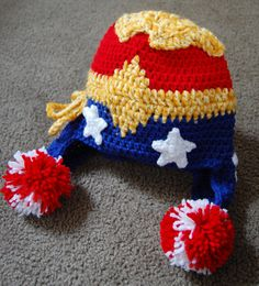 Wonder Woman Crochet Beanie. $50.00, via Etsy. I bet I can figure out this pattern...