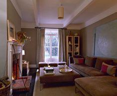 Brown Modern Family Room - long and narrow LON NY