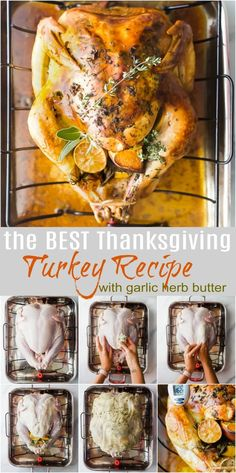 Joyful Healthy Eats Recipes The Best Thanksgiving Turkey Recipe slathered with a garlic herb butter! This easy step by step roasted turkey recipe is super moist, delicious, and hands down the best turkey you'll ever have! No brining ahead of time! Thanksgiving Truthan, Best Thanksgiving Turkey Recipe, Thanksgiving Table Settings, Thanksgiving Activities, Thanksgiving Side Dishes, Thanksgiving Decorations, Best Turkey Recipe, Roast Turkey Recipes, Best Roasted Turkey