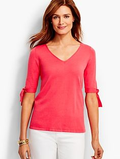 Talbots - Tie-Sleeve V-Neck Sweater |  |  Discover your new look at Talbots. Shop our Tie-Sleeve V-Neck Sweater for stylish clothing and accessories with a modern twist at Talbots