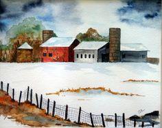 Art Print Original watercolor print Barns by ArtworksEclectic, $22.00