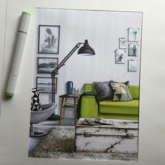 # sketch # sketch # markers # decor # design - All About Decoration Croquis Architecture, Interior Architecture Drawing, Interior Design Renderings, Drawing Interior, Interior Rendering, Interior Sketch, Architecture Design, Interior Shop, Classical Architecture