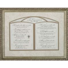 A wonderful gift for newlyweds, this framed art piece shares the Ten Commandments for Marriage, reminding husband and wife of the commandments for building a strong and lasting union.