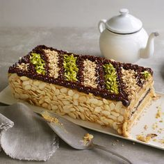 A classic dacquoise cake with layers of nutty meringue, praline buttercream and chocolate ganache. British Bake Off Recipes, Great British Bake Off, Mary Berry, Cake Recipes, Dessert Recipes, Desserts, Dinner Recipes, A Food, Food And Drink