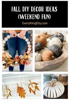 Fall DIY Decor Ideas - Weekend Tutorials You'll Love on EverythingEtsy.com Diy Home Decor Projects, Diy Projects To Try, Decor Crafts, Diy Crafts, Decor Ideas, Decorating Ideas, Thanksgiving Crafts, Fall Crafts, Fall Wreath Tutorial