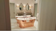 Double copper bathtubs at Coworth Park, just 40 mins from Central London Visit Britain, Bathtubs, Lake District, Whisky, Palace, Copper, London, Park, Country