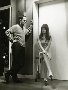 François Truffaut and Julie Christie on the set of Fahrenheit 451 (1966)