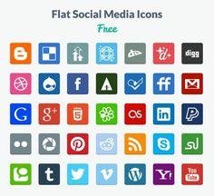 Free Flat Social Media Icons es un set gratuito de iconos sociales con estilo plano. Se presentan en los formatos PNG y PSD, para editarlos con Photoshop.
