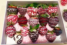 Swirled chocolate covered strawberries