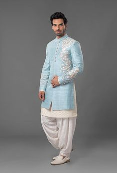Powdered Blue Raw Silk Sherwani Best Picture For Blazer Outfit invierno For Your Taste You are looking for something, and it is going to tell you exactly what you are looking for, and you didn't find Blazer For Men Wedding, Sherwani For Men Wedding, Wedding Dresses Men Indian, Wedding Outfits For Groom, Groom Wedding Dress, Sherwani Groom, Mens Sherwani, Wedding Suits, Mens Indian Wear