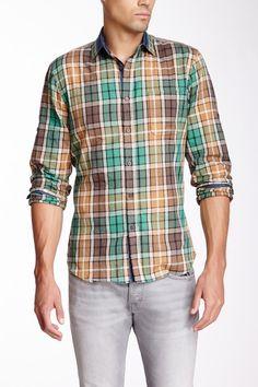 Green & Earth Tone Plaid Solid Yoke Shirt on HauteLook