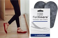 Flatliners – Footwear Odour Killer. Flatliners are the perfect solution to prevent that sweaty  feeling when wearing your pumps, as they are designed to line the inside of ur shoe & more importantly get rid of any smells! You can either pop them into already smelly shoes and magically all the odours disappear or pop them into your news shoes as a preventative measure.  http://www.secretfashionfixes.ie/flatliners--footwear-odour-killer/sts%20flatpd.html