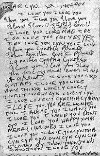 Carta de John Lennon para cinthya Powell... amo...