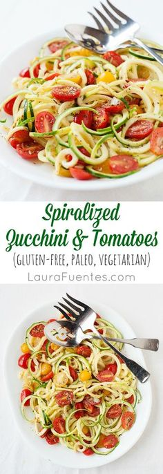 Spiralized Zucchini and Tomatoes: A delicious vegetarian meal or side dish to add to your weekly family dinner rotations.