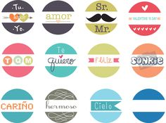 """etiquetas circulares para usarse con perforadora de 5"""" (2 cm), gratis imprimibles circulares en español, sweet spanish words (you need a puncher 5"""")"""
