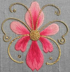 Wonderful Ribbon Embroidery Flowers by Hand Ideas. Enchanting Ribbon Embroidery Flowers by Hand Ideas. Hand Work Embroidery, Indian Embroidery, Brazilian Embroidery, Hand Embroidery Stitches, Silk Ribbon Embroidery, Crewel Embroidery, Hand Embroidery Designs, Embroidery Techniques, Embroidery Patterns