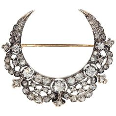 1880s Antique French  Diamond Crescent Brooch    From a unique collection of vintage brooches at https://www.1stdibs.com/jewelry/brooches/brooches/