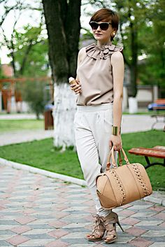 Discover this look wearing Tan Zara Bags, White River Island Pants - All neutrals by Chaba styled for Chic, Everyday in the Spring Zara Bags, Fashion Online, Personal Style, Chic, My Style, How To Wear, Pants, Vintage, River Island