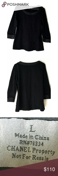 Authentic Chanel Cosmetic Uniform Top Shirt not available in stores.  In good condition. No major signs of wear. Size large. Smoke and pet free home. Ships within one business day. CHANEL Tops Blouses