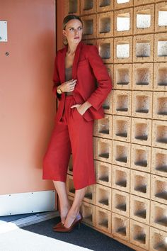 Bold Red Culotte Suit from Reformation: (http://racked.com/archives/2014/09/17/reformation-suiting.php)