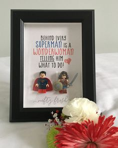 Umrahmt von Lego kompatibel Minifigur Superman Wonderwoman