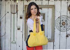Yellow purse, shoulder bag, pleated shoulder bag, handbag, fabric, spring purse, bright, pastel