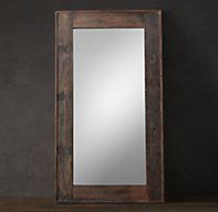Salvaged Boat Wood Leaner Mirror - RH's Salvaged Boat Wood Leaner Mirror:Salvaged from antique fishing boats, the wood planks that frame our mirror earned their one-of-a-kind character on the waves of the South China Sea. Finished only with a light sanding, the wood features naturally high-contrast grain along with random bolts and joinery that remain from the boats' construction.