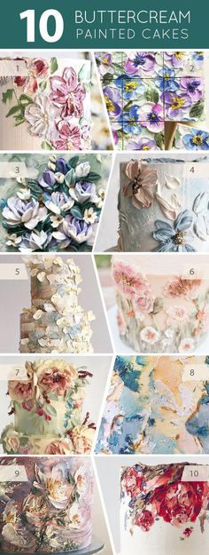 10 Buttercream Painted Cakes | on TheCakeBlog.com #cakedecorating