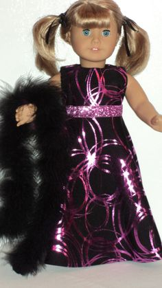 American Girl doll clothes Black/Pink Gown and by susiestitchit, $16.00